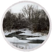 River Freeze Round Beach Towel