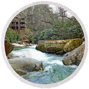 River House In Spring Round Beach Towel