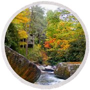 River House In The Fall Round Beach Towel