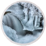 River Ice Round Beach Towel by Chad Dutson