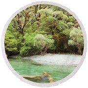 River In Rainforest Wilderness Of Fiordland Np Nz Round Beach Towel