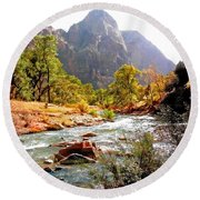 River In Zion National Park Round Beach Towel