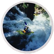 River Kayaking Over Waterfall, Crested Round Beach Towel