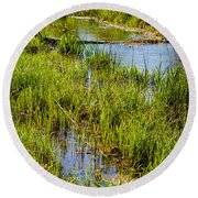 River Kennet Marshes Round Beach Towel