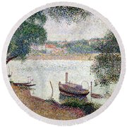 River Landscape With A Boat Round Beach Towel by Georges Pierre Seurat