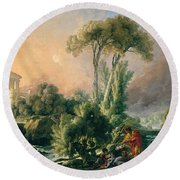 River Landscape With An Antique Temple Round Beach Towel