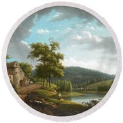 River Landscape With Farmhouse Round Beach Towel