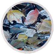River Leaves Round Beach Towel