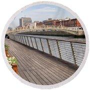 River Liffey Boardwalk In Dublin Round Beach Towel