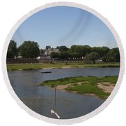 River Loire Fishing Boat Round Beach Towel