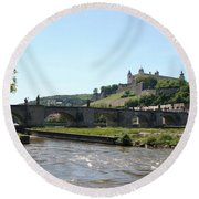 River Main With Fortress - Wuerzburg Round Beach Towel