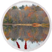 River Mirror Autumn Round Beach Towel