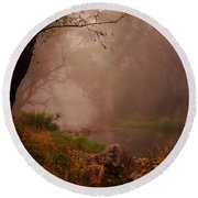 River Mist On A Mystical Morning Round Beach Towel