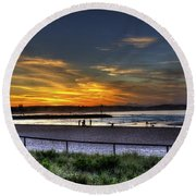 River Mouth At Sunset Round Beach Towel