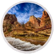 River Of Gold Round Beach Towel