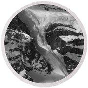1m3646-bw-river Of Ice On Snowbird Glacier Round Beach Towel
