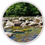 River Of Rocks Round Beach Towel
