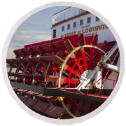 River Paddle Steamer Round Beach Towel