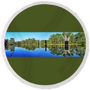 River Panorama And Reflections Round Beach Towel