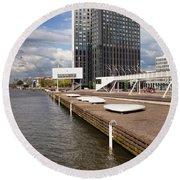River Promenade In Rotterdam Round Beach Towel