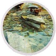 River Rock Path Round Beach Towel