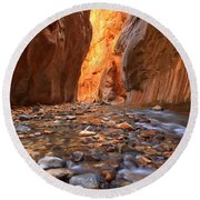 River Rocks In The Narrows Round Beach Towel