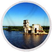 River Ruins Round Beach Towel