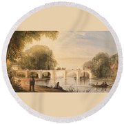 River Scene With Bridge Of Six Arches Round Beach Towel by Robert Hindmarsh Grundy