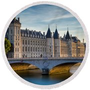 River Seine With Conciergerie Round Beach Towel