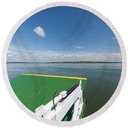 River Shannon Ferry, Tarbert-killimer Round Beach Towel