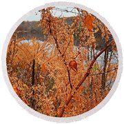River Side Foliage Autumn Round Beach Towel