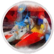 River Speed Boat Number 2 Photo Art Round Beach Towel