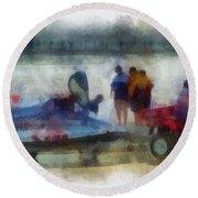River Speed Boat Photo Art Round Beach Towel