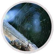 River Spider Web   Round Beach Towel