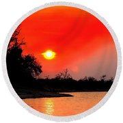 River Sunset Round Beach Towel