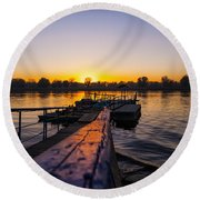 River Sunset Round Beach Towel