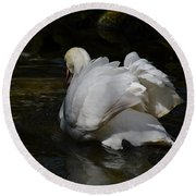 River Swan Round Beach Towel