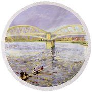 River Thames At Barnes Round Beach Towel by Sarah Butterfield