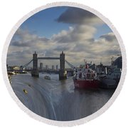 River Thames Waterfall Round Beach Towel