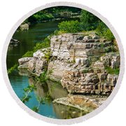 River Through The Rocks Round Beach Towel