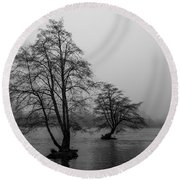 River Trees And Fog Round Beach Towel