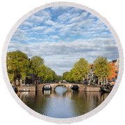 River View Of Amsterdam In The Netherlands Round Beach Towel