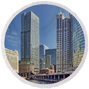 River View Skyline Round Beach Towel