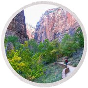 River Walk In Zion Canyon In Zion Np-ut Round Beach Towel