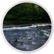 River Wye Waterfall - In Peak District - England Round Beach Towel