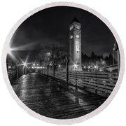 Riverfront Park Clocktower Seahawks Black And White Round Beach Towel