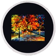 Rivershore Park - Palette Knife Oil Painting On Canvas By Leonid Afremov Round Beach Towel
