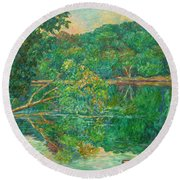 Riverview Reflections Round Beach Towel
