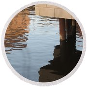 Riverwalk Low View Refections Round Beach Towel