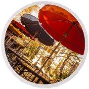 Riverwalk Umbrellas Round Beach Towel